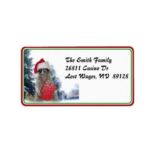Christmas Santa Raccoon Bandit Label