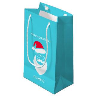 Christmas Santa Red Hat Beard Glasses And Mustache Small Gift Bag