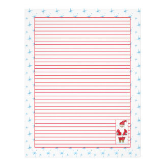 Christmas Santa Red Lined Letterhead Snowflakes