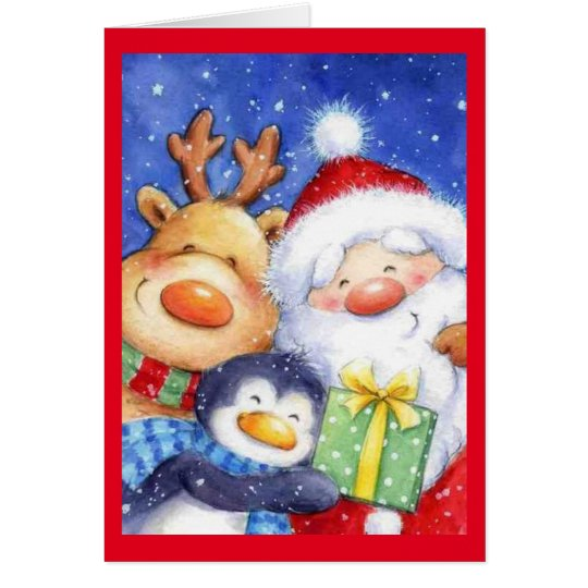 Christmas Santa Reindeer and Penguin Card