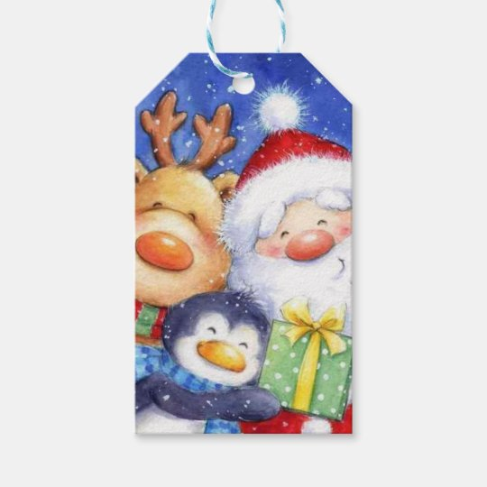 Christmas Santa Reindeer and Penguin Gift Tags
