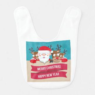 Christmas Santa Reindeer Cute Cartoon Gift Bib