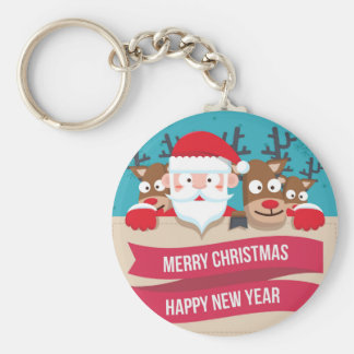 Christmas Santa Reindeer Cute Cartoon Gift Keychain