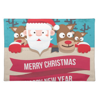 Christmas Santa Reindeer Cute Cartoon Gift Placemat