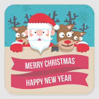 Christmas Santa Reindeer Cute Cartoon Gift Square Sticker
