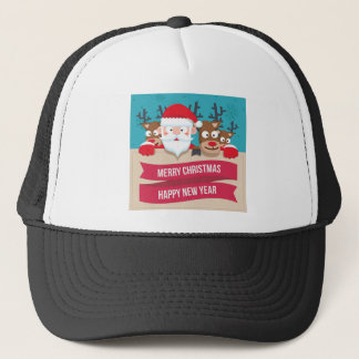 Christmas Santa Reindeer Cute Cartoon Gift Trucker Hat