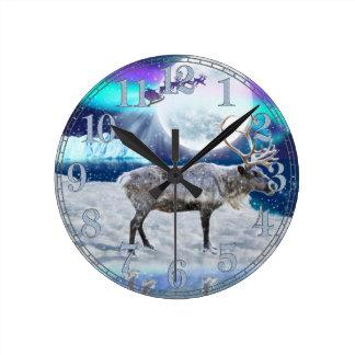 Christmas Santa & Reindeer Fantasy Art Gift Round Clock