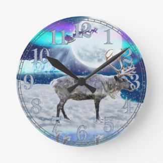 Christmas Santa & Reindeer Fantasy Art Gift Wall Clocks