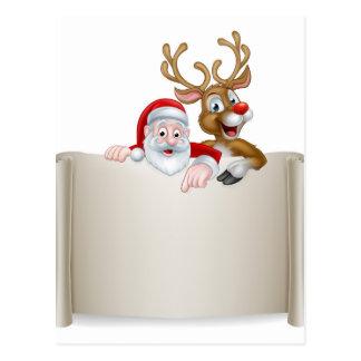Christmas Santa Reindeer Scroll Background Postcard