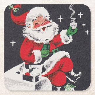 Christmas Santa retro vintage party coaster