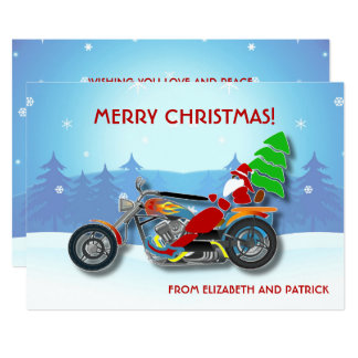 Christmas Santa Riding Chopper Bike With Red Hat Card