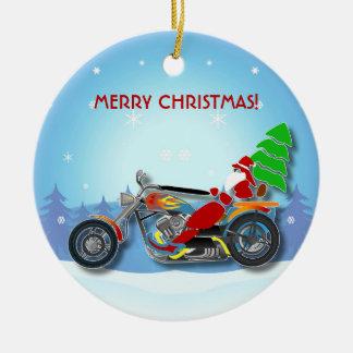 Christmas Santa Riding Chopper Bike With Red Hat Ceramic Ornament