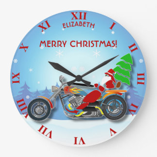 Christmas Santa Riding Chopper Bike With Red Hat Large Clock