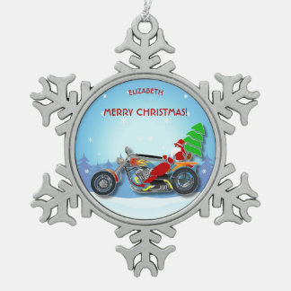 Christmas Santa Riding Chopper Bike With Red Hat Snowflake Pewter Christmas Ornament