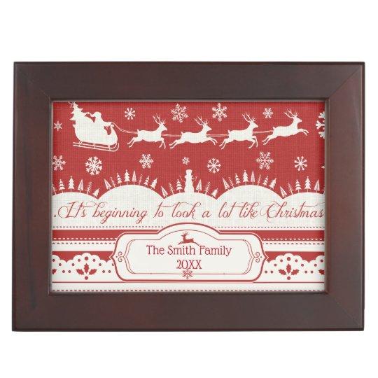 Christmas Santa Sleigh Custom Keepsake Box