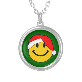 Christmas Santa Smiley Face Silver Plated Necklace
