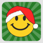 Christmas Santa Smiley Face Square Sticker