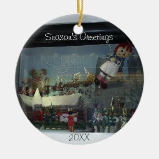 Christmas Santa Store Window Ornament