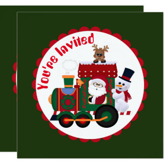 Christmas Santa train Festive party invitation
