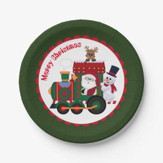 Christmas Santa Train kids party plate