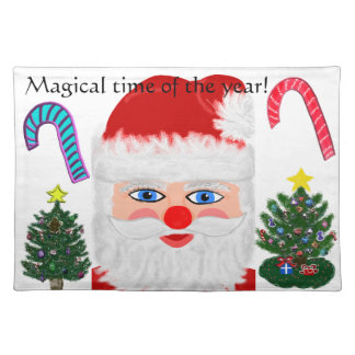 Christmas Santa Trees Candy Canes Placemats