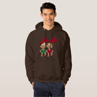 christmas santa twins emoji mens hooded sweatshirt
