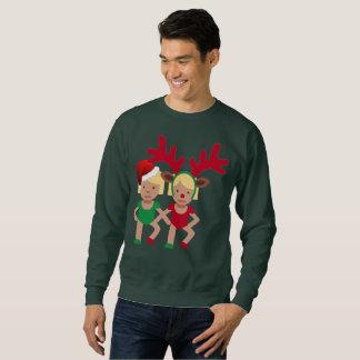 christmas santa twins emoji mens sweatshirt