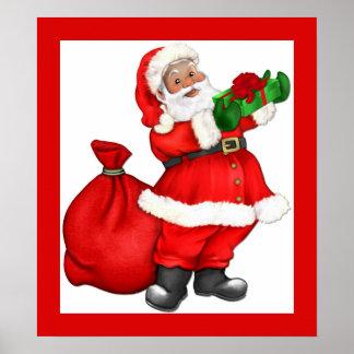 Christmas Santa with Gift Posters
