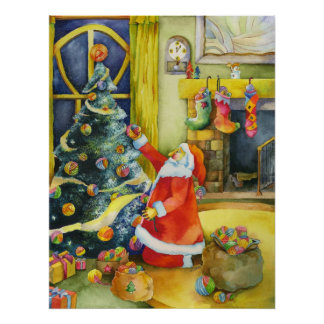 Christmas Santa with Yarn Balls Poster