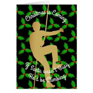 Christmas Santa Would be Rock Climbing Card