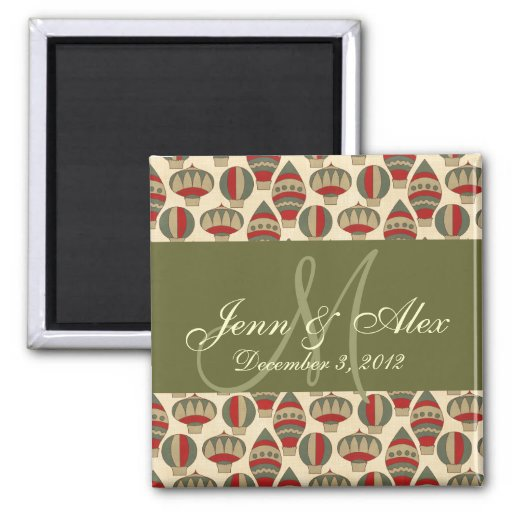 Christmas Save the Date  Monogram Names Magnets Refrigerator Magnet