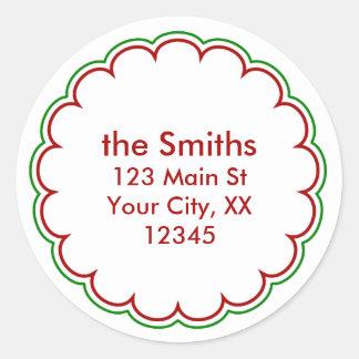 Christmas Scallop Address Stickers