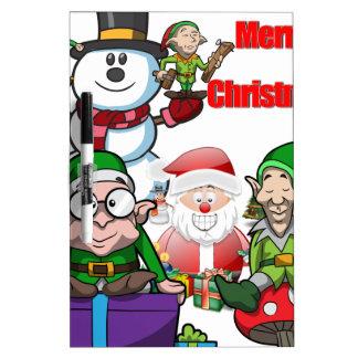 Christmas Scene Elfs Snowman Santa Dry Erase Board