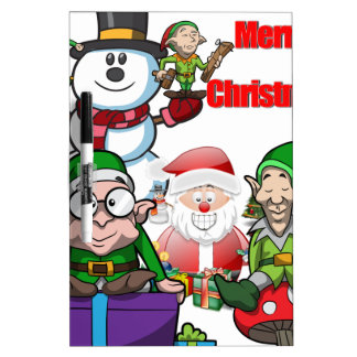 Christmas Scene Elfs Snowman Santa Dry Erase Boards