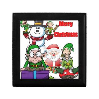 Christmas Scene Elfs Snowman Santa Jewelry Boxes