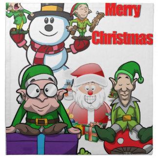 Christmas Scene Elfs Snowman Santa Napkin