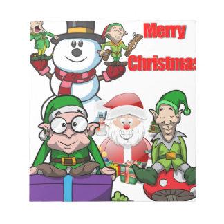 Christmas Scene Elfs Snowman Santa Notepad