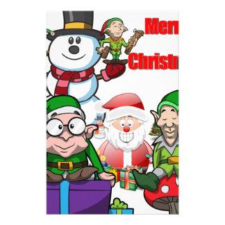 Christmas Scene Elfs Snowman Santa Stationery