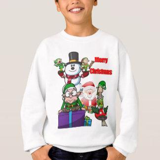 Christmas Scene Elfs Snowman Santa Sweatshirt