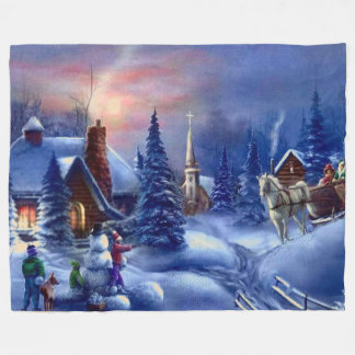 CHRISTMAS SCENE FLEECE BLANKET