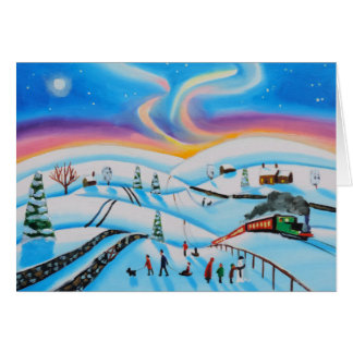 Christmas scene winter northern lights card