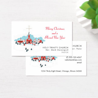 Christmas Scene with a Red Church and Star Above Business Card