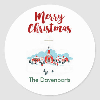 Christmas Scene with a Red Church and Star Above Classic Round Sticker