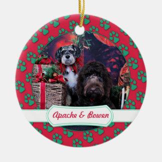 Christmas - Schnauzer Apache - Bowen LabraDoodle Round Ceramic Ornament