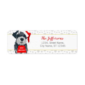 Christmas Schnauzer Dog Santa Hat Address Labels