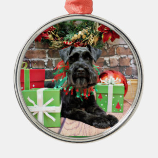 Christmas - Schnauzer - Fergie Silver-Colored Round Ornament