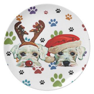 Christmas Schnauzer Paw Print Plate