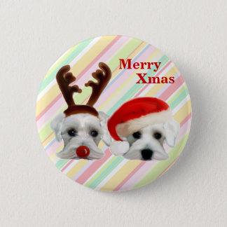 Christmas Schnauzers 2 Inch Round Button