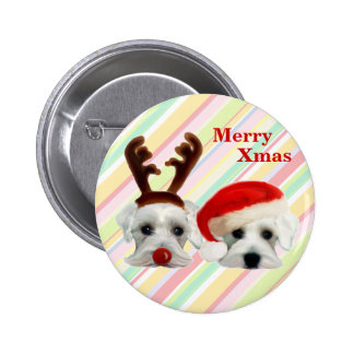 Christmas Schnauzers 2 Inch Round Button