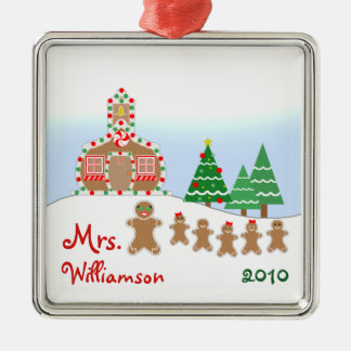 Christmas Schoolhouse Scene - Gingerbread Teacher Silver-Colored Square Ornament